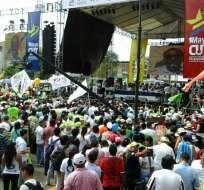 """Correa destacó que """"desempleo y subempleo son más bajos que hace 10 años"""". Foto: Andes"""