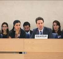 GINEBRA, Suiza.- El canciller Guillaume Long encabeza la comitiva ecuatoriana. El informe final sobre esta evaluación se presentará en sesión el 5 de mayo. Foto: Cancillería