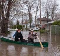 Casi 2.000 residencias están inundadas en los 130 municipios afectados de Quebec. Foto: AFP