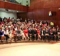 El presidente del CNE, Juan Pablo Pozo, resaltó el proceso democrático mediante el cual fueron electas las nuevas autoridades.
