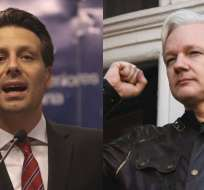 ECUADOR.- El canciller Guillaume Long (d) dijo que Ecuador mantiene concesión de asilo a Julian Assange. Collage: Ecuavisa, Fotos: AFP y API