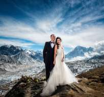 Los novios y el fotógrafo entrenaron durante un año para este particular álbum de bodas. Fotos: Charleton Churchill.