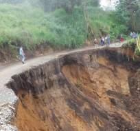 PANGUA, Ecuador.- Según información preliminar, la afectación deja incomunicados a unos 5.000 habitantes. Foto: Cortesía