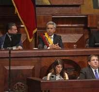 """Moreno, presidente posesionado, mencionó más de 6 veces la palabra diálogo y reiteró que """"tiene su mano extendida"""". Foto: API"""