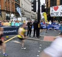 La seguridad fue muy visible durante la competición en la que participaron 40.000 corredores. Foto: AFP