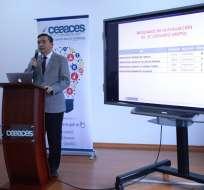 Francisco Cadena, presidente del Ceaaces, indicó que se completó la acreditación de todas las universidades y escuelas politécnicas del país. Foto: Ceaaces