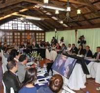 SANGOLQUÍ, Ecuador.- El presidente Lenín Moreno evalúa, junto con su gabinete ministerial, sus 30 primeros días de Gobierno. Foto: Twitter Secob