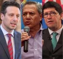 ECUADOR.- Guillaume Long, Homero Arellano y Diego Aulestia irán a Suiza, Chile y Estados Unidos, respectivamente. Collage: Ecuavisa