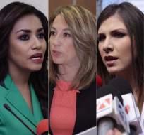 ECUADOR.- Jeannine Cruz, Soledad Buendía y Ana Galarza deberán rendir su testimonio la próxima semana. Collage: Ecuavisa / Fotos: API y Asamblea