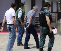 El dirigente Ángel María Villar (c.) se encuentra bajo prisión provisional. Foto: AFP