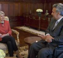 QUITO, Ecuador.- En la audiencia presidencial, Irina Bokova resaltó el tema de la educación técnica y la importancia de los patrimonios. Foto: Presidencia de la República