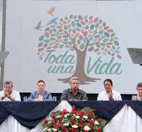GUAYAQUIL, Ecuador.- En su intervención, el presidente Moreno no se refirió a Jorge Glas y agradeció la presencia de otras autoridades. Foto: Secom