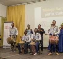 La presentación artística del grupo de marimba Aires del Pacífico durante encuentro del sector cultural en Esmeraldas, el 7 de agosto. Foto: Ministerio de Cultura y Patrimonio