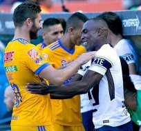 Joffre Guerrón volvió al estadio de Tigres, donde fue ovacionado por los hinchas.
