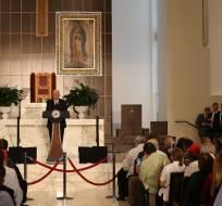 Mike Pence habló ante la comunidad venezolana en Miami. Foto: AFP