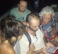 tres extranjeros y un ecuatoriano fueron localizados con buen estado de salud. Foto: ECU 911