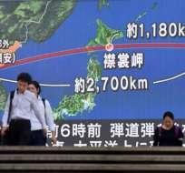 Se trata del primer proyectil norcoreano que sobrevuela el territorio de Japón en años. Foto: AFP