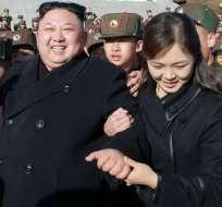 Se dice que Kim Jong-un y su esposa se convirtieron en padres por tercera vez (foto de marzo de 2017). Foto: BBC Mundo