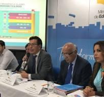 Funcionarios del Ministerio de Educación en rueda de prensa. Foto: Tomada de Educación Ecuador