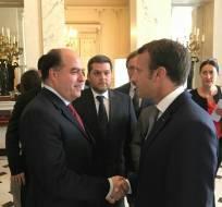 Julio Borges y Emmanuel Macron. Foto: Tomada de Twitter de Julio Borges