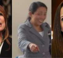 ECUADOR.- Ivonne Baki (izquierda), Mariana Pico y Stephania Baldeón ocuparán cargos diplomáticos en este Gobierno. Collage: Ecuavisa