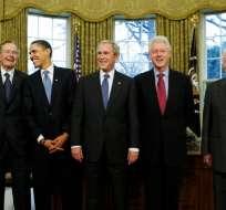 Los expresidentes de EE.UU. Jimmy Carter (1977-1981), George H. W. Bush (1989-1993), Bill Clinton (1993-2001), George W. Bush (2001-2009) y Barack Obama (2009-2017). Foto: AP