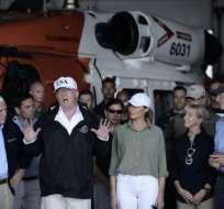 Donald Trump, Melania Trump, Mike Pence, Marco Rubio y Rick Scott en visita al estado de Florida. Foto: AFP