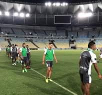 Liga de Quito entrenó en la cancha del Maracaná, donde jugará con Fluminense por la Sudamericana.