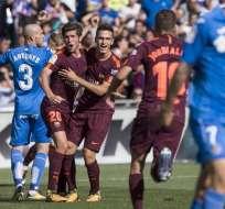 El FC Barcelona es líder provisional de la Liga de España tras ganar de visitante al Getafe.