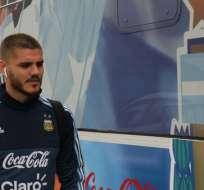 El delantero Mauro Icardi podría ser el titular ante la 'Tricolor'. Foto: Tomada de la cuenta Twitter @Argentina