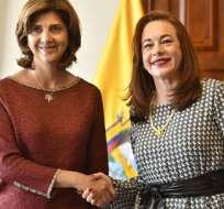 Las dos Ministras destacaron especialmente el papel de Ecuador en los procesos de paz en marcha. Foto: API