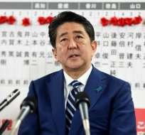 Shinzo Abe, obtuvo este domingo una amplia victoria en las elecciones legislativas anticipada. Foto: AFP