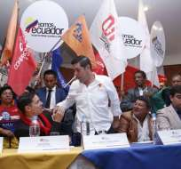 QUITO, Ecuador.- Los ministros Raúl Ledesma (derecha) e Iván Espinel lideran la iniciativa, que congrega a 20 organizaciones. Foto: API