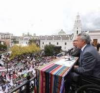 Presidente Moreno respalda gestión de Richard Espinosa al frente del IESS. Foto: Presidencia EC.