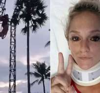 INDONESIA.- Sam Panda, una acróbata estadounidense de 26 años, sufrió una impactante caída durante su show en Bali. Foto: Medios internacionales
