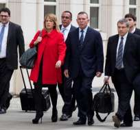 Juan Ángel Napout (c.), expresidente de Conmebol, es uno de los acusados. Foto: AFP