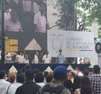 GUAYAQUIL, Ecuador.- El presidente Lenín Moreno, al llegar al evento por recordatorio de masacre de 1922. Acto se realiza en Guayaquil. Foto: Javier Vite-Ecuavisa.