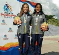Rommy Santillán y Madeleine Rivadeneira consiguieron medalla de plata en 3 metros de clavados sincronizado. Foto: Tomada de la cuenta Twitter @ECUADORolimpico