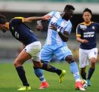 El delantero ecuatoriano Felipe Caicedo sumó minutos con la Lazio en su partido ante la Fiorentina.