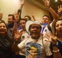Simpatizantes del actual presidente Juan Orlando Hernández durante las elecciones de este domingo 26 de noviembre. Foto:AFP