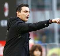 El entrenador italiano llegó en junio de 2016 al elenco milanista. Foto: AFP