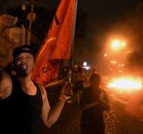 """Simpatizantes del candidato opositor Nasralla protestaron por el supuesto """"fraude"""" en las elecciones del domingo. Foto:AFP"""