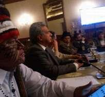 Dirigentes indígenas expresaron su respaldo al Gobierno para consulta popular. Foto: @jaimevargasnae