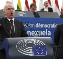 El exalcalde de Caracas Antonio Ledezma y el presidente del parlamento venezolano Julio Borges en el Parlamento Europeo.      Foto:AFP