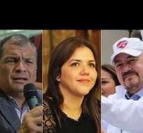 """El expresidente Correa, la vicepresidenta Vicuña y el exaliado de Correa, Larrea, destacan entre los impulsores del """"No"""" y el """"Sí"""", en la campaña electoral. Foto: Collage."""