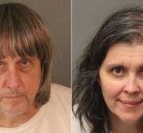 David Allen y Louise Anna Turpin, de 57 y 49 años respectivamente, fueron arrestados bajo fianza de US$9 millones.