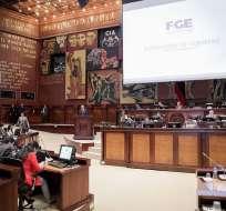QUITO, Ecuador.- Las autoridades rindieron su informe de labores ante el Pleno legislativo. Foto: Twitter Asamblea Nacional.