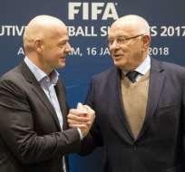 Gianni Infantino (i.) es el actual presidente de la FIFA. Foto: AFP
