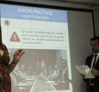 Lourdes Cuesta y Fabricio Villamar aseguran que Carlos Ochoa abusó de sus funciones. Foto: API
