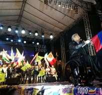 QUITO, Ecuador.- El presidente rechazó los actos violentos en los recorridos de campaña. Foto: twitter